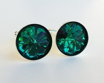Handmade Green Czech Glass Cuff Links Cufflinks