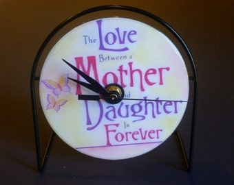 Daughter Mother Recycled CD Clock Art