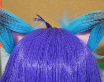 Turquoise and Gray with Light Pink Clip on Fox Ears