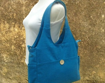 Summer Sale 10% off blue canvas diaper bag, womens hand bag, canvas messenger bag, tote bag for women