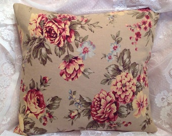 Pillow cover Fall colors Big Cabbage roses Vintage colors Eddie Bauer fabric