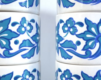 Set of Six Vintage Cups in Blue Retro Pattern by Staffordshire Potteries of England