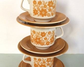 Trio of Teasets in Mustard Yellow Floral Pattern by Tams of England
