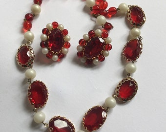 Western Germany ruby red lucite beads and pearls  and earrings    VJSE