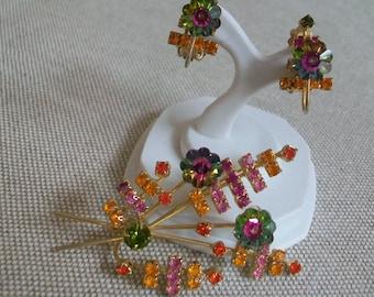 Vintage Juliana jewelry set, margarita crystal, Juliana earrings , D & E, Delizza and Elster, rhinestone spray, watermelon rhinestones