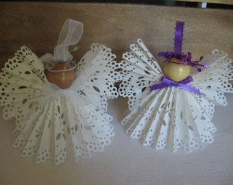 White Angel Tree Ornament U-Pick Ribbon Trim White Paper Lace Ribbon Angel Christmas Tree Ornament SnowNoseCrafts