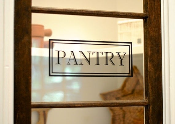 Pantry vinyl decal pantry door decal glass door decal vinyl for Door vinyl design