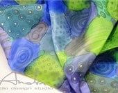 Silk scarf handpainted blue, handpainted scarf square - Hand painted silk accessories OOAK ready to ship
