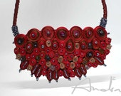 Statement necklace red,  bib necklace large from Cloud Design Collection - Handmade textile jewelry OOAK ready to ship