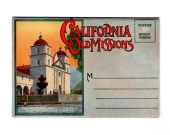 Vintage California Old Missions Postcard Souvenir Folder