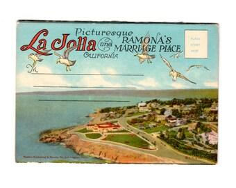 La Jolla and Ramona's Marriage Place California Vintage Postcard Souvenir Folder