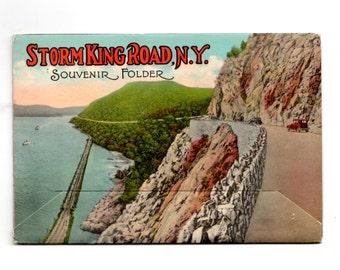 Vintage Storm King Road New York Postcard Souvenir Folder, Retro Road Trip Souvenir Ephemera, Travel Journal, Scrapbook Supplies