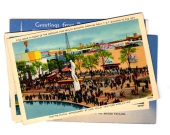 6 Vintage New York World's Fair Unused Postcards Blank, Wedding Guestbook, Travel Journal, Scrapbooking, Collage Supplies