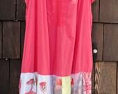 Reserve for Julia Flamingo Pink Gypsy Hippy Boho T Shirt Dress Tattered Mosaic Sz L - XL