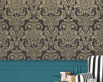 Isle of Palms Large Damask Wall Stencil for Easy DIY Wallpaper Decor