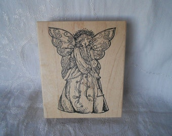 Extra Large  Angel Stamp by Northwoods Rubber Stamps, Inc- 2000 - NEW  Unused Musical Christmas Angel Stamp playing a Horn - Ready to Ship