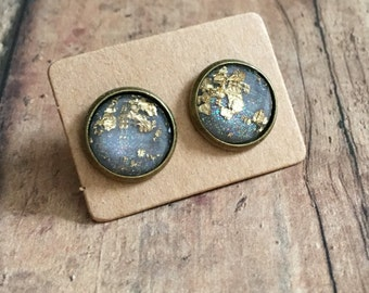 Gorgeous gold fleck gray studs
