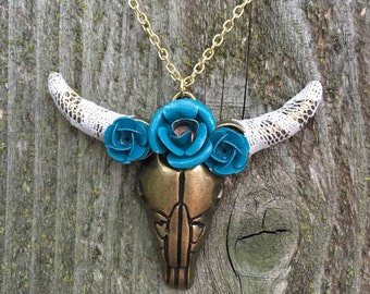Lace and teal steer skull necklace