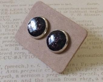 Gorgeous deep plum glitter resin earrings