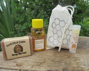 Honey Gift Bag -  2 oz summer honey bear, Honey Lip Balm, and a small honey harvest soap