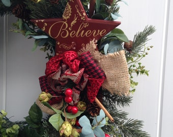 Traditional Christmas Wreath with Star saying BELIEVE-Rustic Wreath-Evergreen Wreath with Wood Star-Burlap Ribbon -Pine Cone Wreath-Xmas