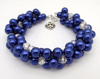 Royal Blue Bracelet, Chunky Pearl Bracelet, Blue Bridesmaid Jewelry, Pearl Cluster Bracelet, Blue Wedding Jewelry