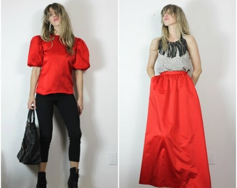 SALE Red 80s Ensemble Dress Satin Set Vintage 80s Maxi Dress Puffed Sleeve Top and Long Ball Gown Skirt Set