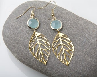 Mint and Gold Leaf Earrings, Gold filigree leaf earrings, mint earrings, bridesmaid earrings, bridesmaid gift, wedding party gift