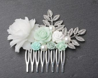 Bridal Hair Comb, Mint Wedding hair comb, Mint Hair Comb, Bridesmaid gift, Maid of Honor Gift, Mint Hair Accessories, Mint Head piece