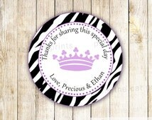 Princess Thank You Labels - Purple Zebra Baby Shower Gift Favor Tags Custom Party Items Printable Custom Party Decoration