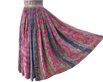 SALE - 50s Rayon Hibiscus Skirt - 75% off