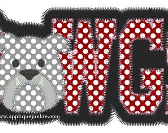 Vintage Stitch Dawgs with Bulldog Face Digital Applique Design