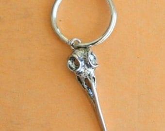 BIRD SKULL Keychain..silver. antique silver charm. skull. bird earrings. weird. retro. kitsch. boho. metal. urban. hipster. creepy. goth