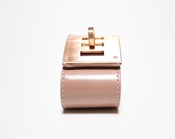 Leather Wrap Bracelet with Brushed Rose Gold Plated Square Closure Ornament(Blush Pink)