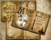 SPELL BOOK - Digital Collage 12 Double Journal Pages 7.6x4.8 inch Scrapbooking Spooky Background Paper Printable Halloween Journaling Book