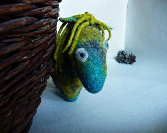 Felted tartan pony. Wool horse. Boho home decor. Rustic nursery decor. Waldorf toy. Albert