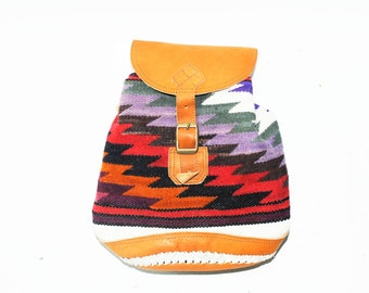 Vintage Southwestern Kilim Bag, Tribal Weekender, Festival Backpack