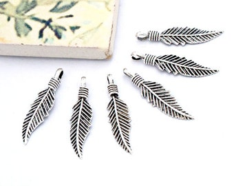 6 of 925 Sterling Silver Oxidized Feather Charms  5x20 mm. :th2521
