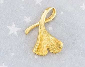 1 of 925 Sterling Silver 24k Gold  Vermeil Style Ginkgo Pendant 16x28mm.  :vm0809