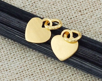 4 of 925 Sterling Silver 24k Gold Vermeil Style Heart Charms 7.5 mm. :vm0535