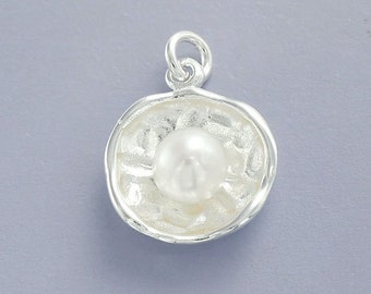 1 of 925 Sterling Silver Concave Disc Pendant with Pearl 14.5 mm.  :th2154