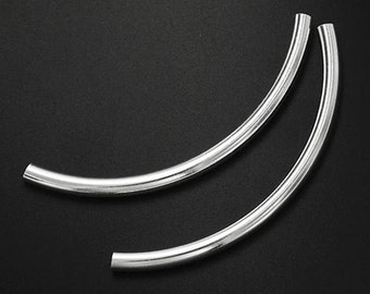 4 of 925 Sterling Silver Long Curved Tube Beads 3x50 mm. :th2345