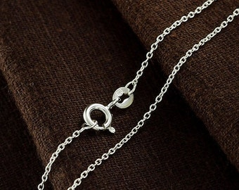 20 inches of 925 Sterling Silver Fine Cable Chain Necklace , 1x1.5 mm. Delicate Chain  :th2352-20