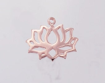 1 of 925 Sterling Silver Rose Gold Vermeil Style Lotus Charm 14.5x17mm. :pg0018