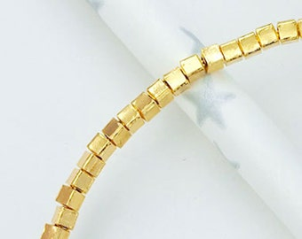 60 of Karen hill tribe 24k Gold Vermeil Style Cube Beads 2.2mm. 5.5 inches :vm0569