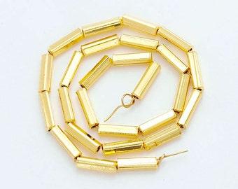 """24 of Karen hill tribe  24K Gold Vermeil Style Rectangle Tube Beads 2x7 mm. 6.5"""" :vm0595"""
