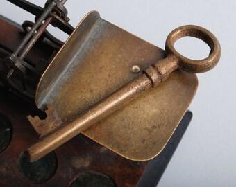 Vintage brass skeleton key, old  patina