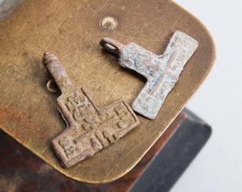 Set of 2 Antique parts of  Christian Cross pendant. Orthodox church