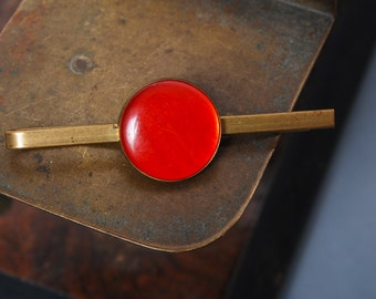 Vintage brass  tie bar clip with red plastic
