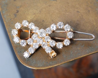 Vintage metal, hairpin  with glass rhinestones